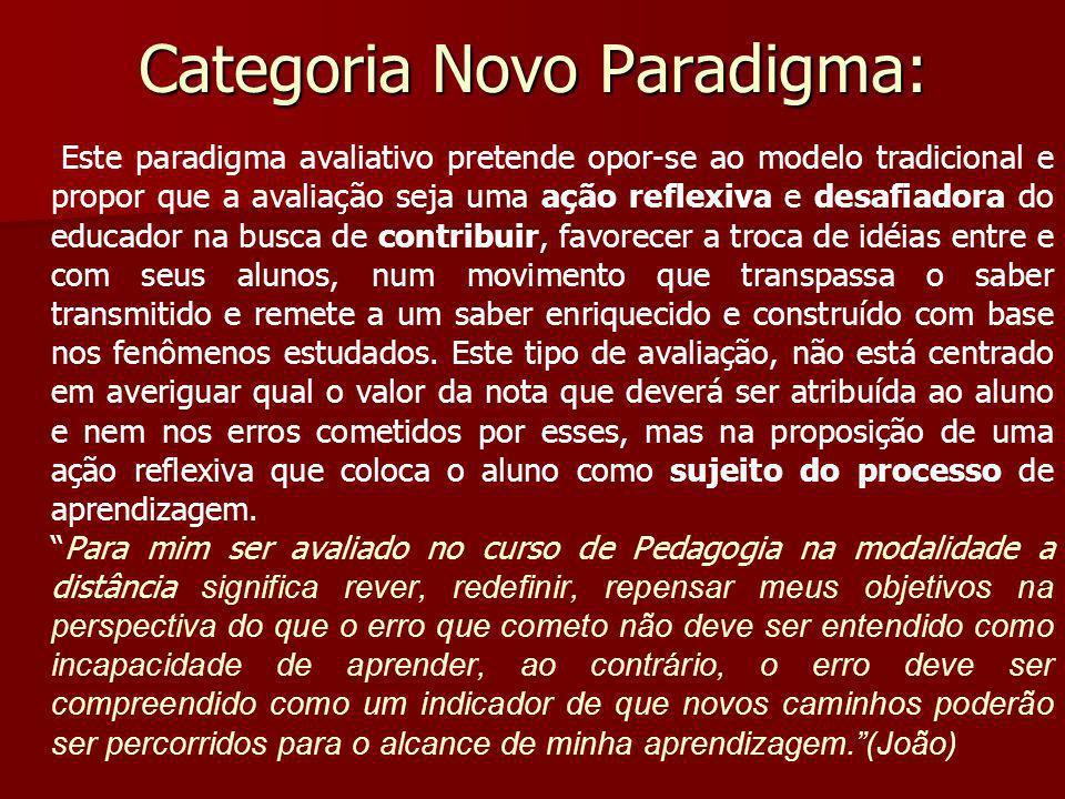 Categoria Novo Paradigma: Este paradigma avaliativo pretende opor-se ao modelo tradicional e propor que a avaliação seja uma ação reflexiva e desafiad