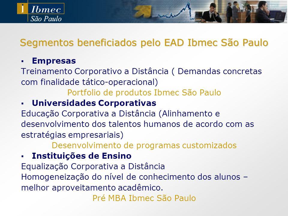 Segmentos beneficiados pelo EAD Ibmec São Paulo Empresas Treinamento Corporativo a Distância ( Demandas concretas com finalidade tático-operacional) P
