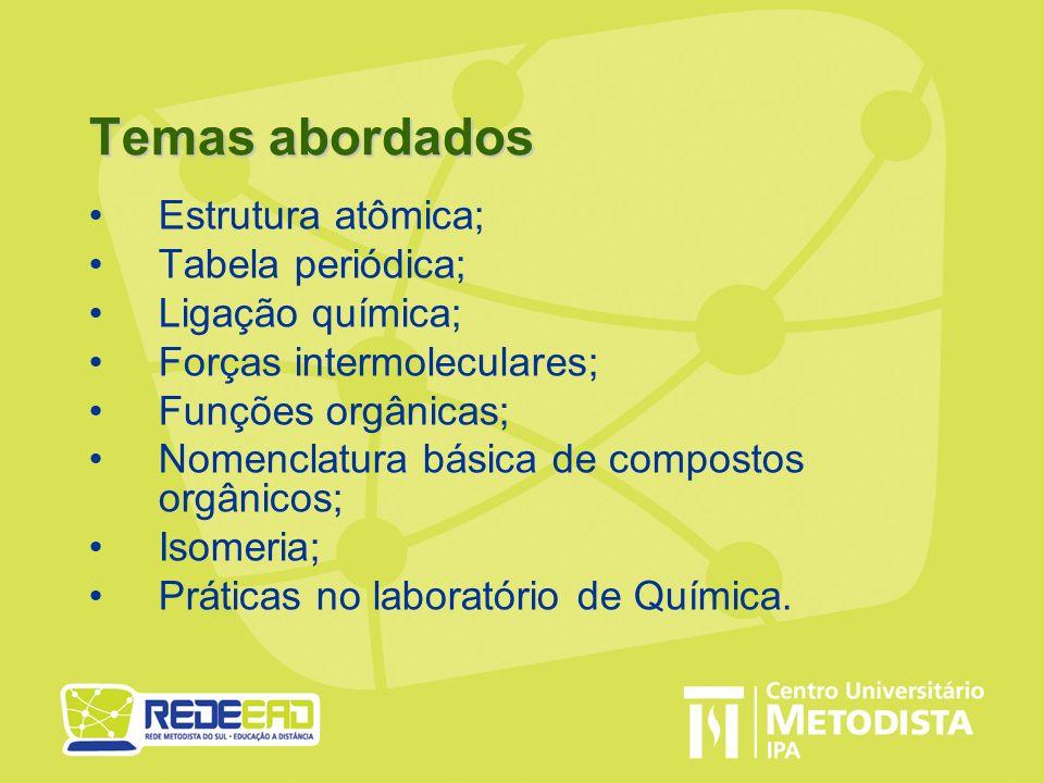 Temas abordados Estrutura atômica; Tabela periódica; Ligação química; Forças intermoleculares; Funções orgânicas; Nomenclatura básica de compostos org