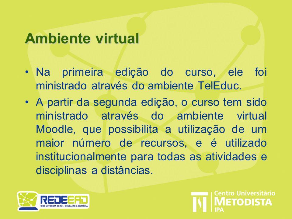 Ambiente virtual Na primeira edição do curso, ele foi ministrado através do ambiente TelEduc. A partir da segunda edição, o curso tem sido ministrado