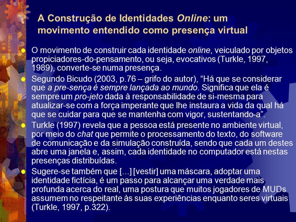 O movimento de construir cada identidade online, veiculado por objetos propiciadores-do-pensamento, ou seja, evocativos (Turkle, 1997, 1989), converte-se numa presença.