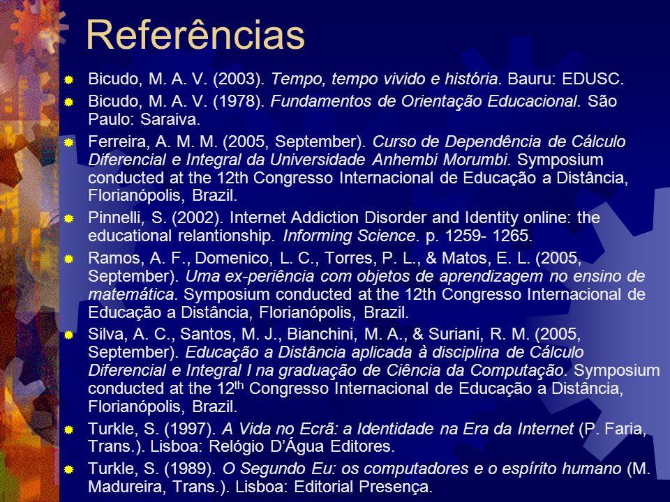 Referências Bicudo, M. A. V. (2003). Tempo, tempo vivido e história.