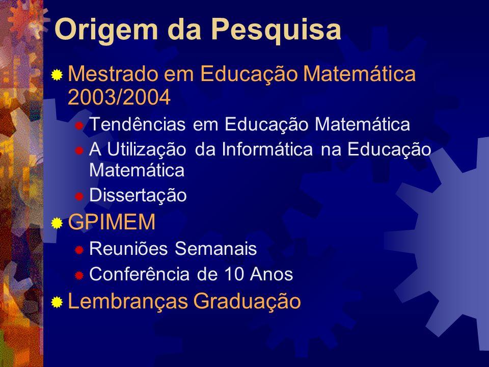 Origem da Pesquisa Mestrado em Educação Matemática 2003/2004 Tendências em Educação Matemática A Utilização da Informática na Educação Matemática Dissertação GPIMEM Reuniões Semanais Conferência de 10 Anos Lembranças Graduação