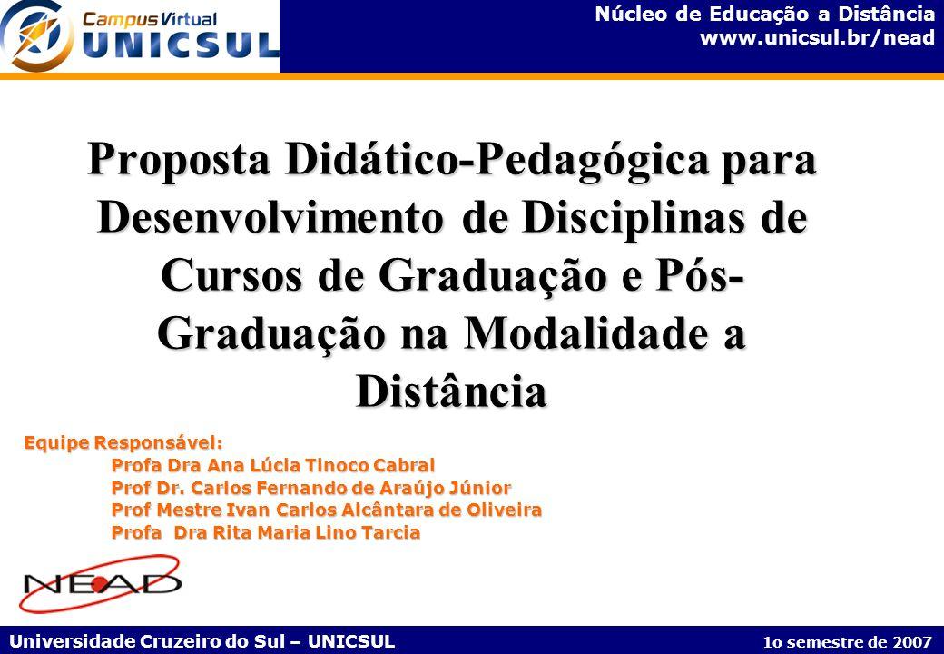 Núcleo de Educação a Distância www.unicsul.br/nead Universidade Cruzeiro do Sul – UNICSUL 1o semestre de 2007 Proposta Didático-Pedagógica para Desenv