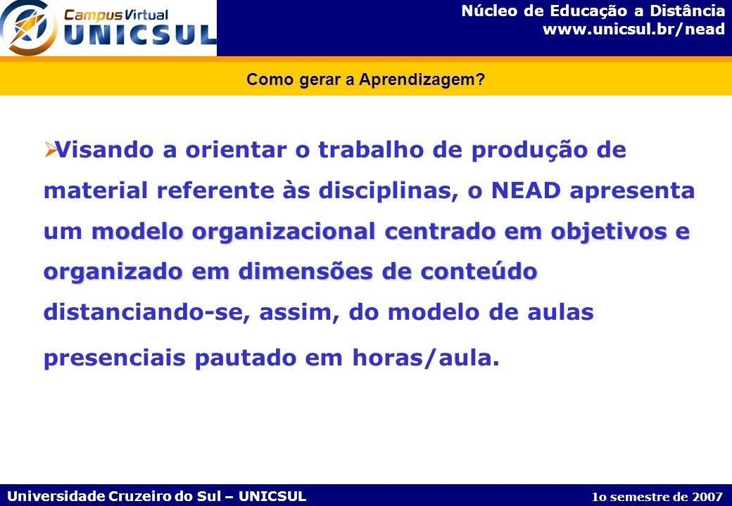 Núcleo de Educação a Distância www.unicsul.br/nead Universidade Cruzeiro do Sul – UNICSUL 1o semestre de 2007 Como gerar a Aprendizagem? modelo organi