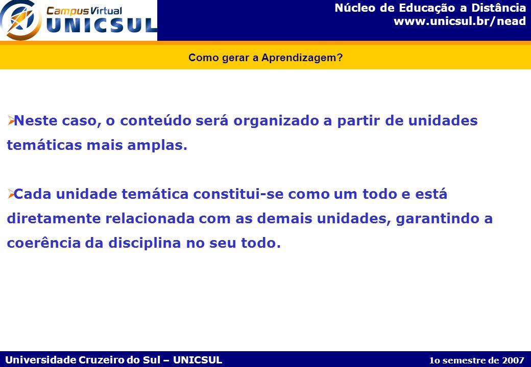 Núcleo de Educação a Distância www.unicsul.br/nead Universidade Cruzeiro do Sul – UNICSUL 1o semestre de 2007 Como gerar a Aprendizagem? Neste caso, o