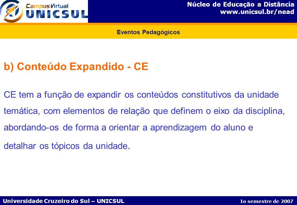 Núcleo de Educação a Distância www.unicsul.br/nead Universidade Cruzeiro do Sul – UNICSUL 1o semestre de 2007 Eventos Pedagógicos b) Conteúdo Expandid