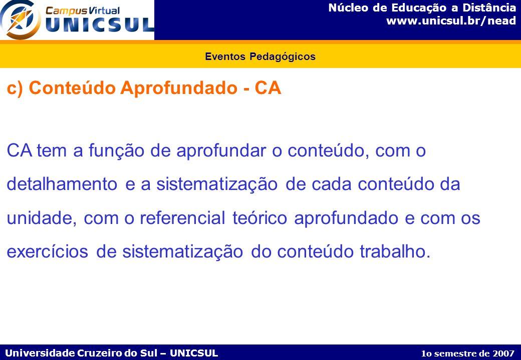 Núcleo de Educação a Distância www.unicsul.br/nead Universidade Cruzeiro do Sul – UNICSUL 1o semestre de 2007 Eventos Pedagógicos c) Conteúdo Aprofund