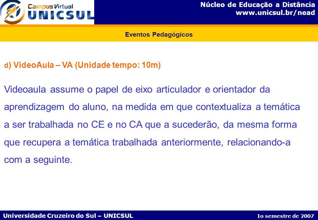 Núcleo de Educação a Distância www.unicsul.br/nead Universidade Cruzeiro do Sul – UNICSUL 1o semestre de 2007 Eventos Pedagógicos d ) VideoAula – VA (