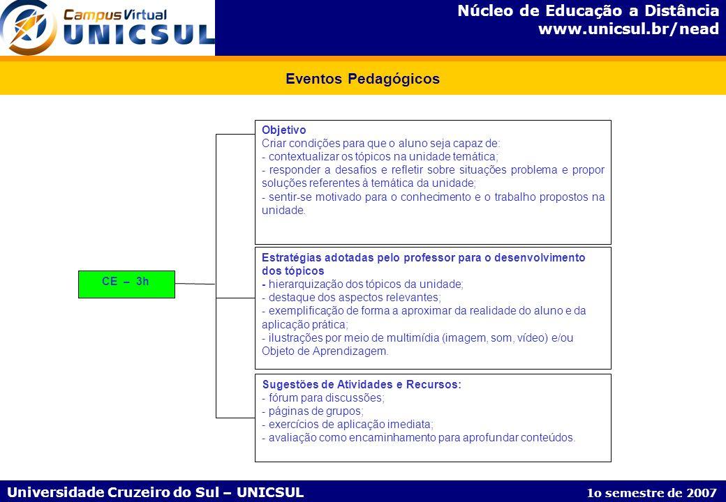 Núcleo de Educação a Distância www.unicsul.br/nead Universidade Cruzeiro do Sul – UNICSUL 1o semestre de 2007 Eventos Pedagógicos CE – 3h Objetivo Cri