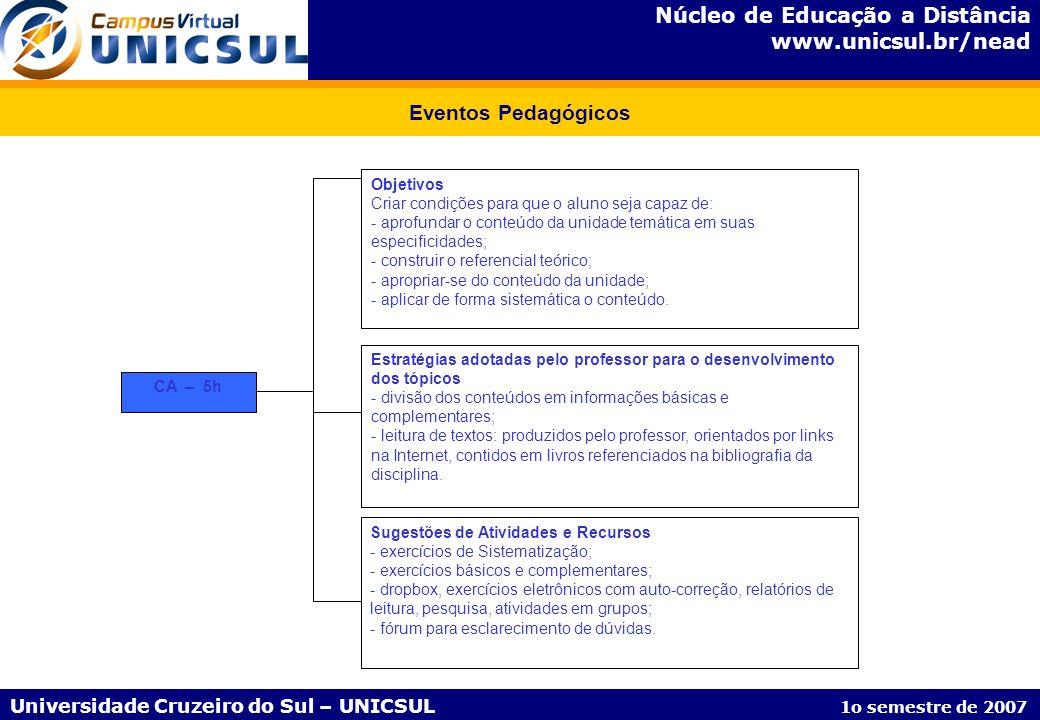 Núcleo de Educação a Distância www.unicsul.br/nead Universidade Cruzeiro do Sul – UNICSUL 1o semestre de 2007 Eventos Pedagógicos CA – 5h Estratégias