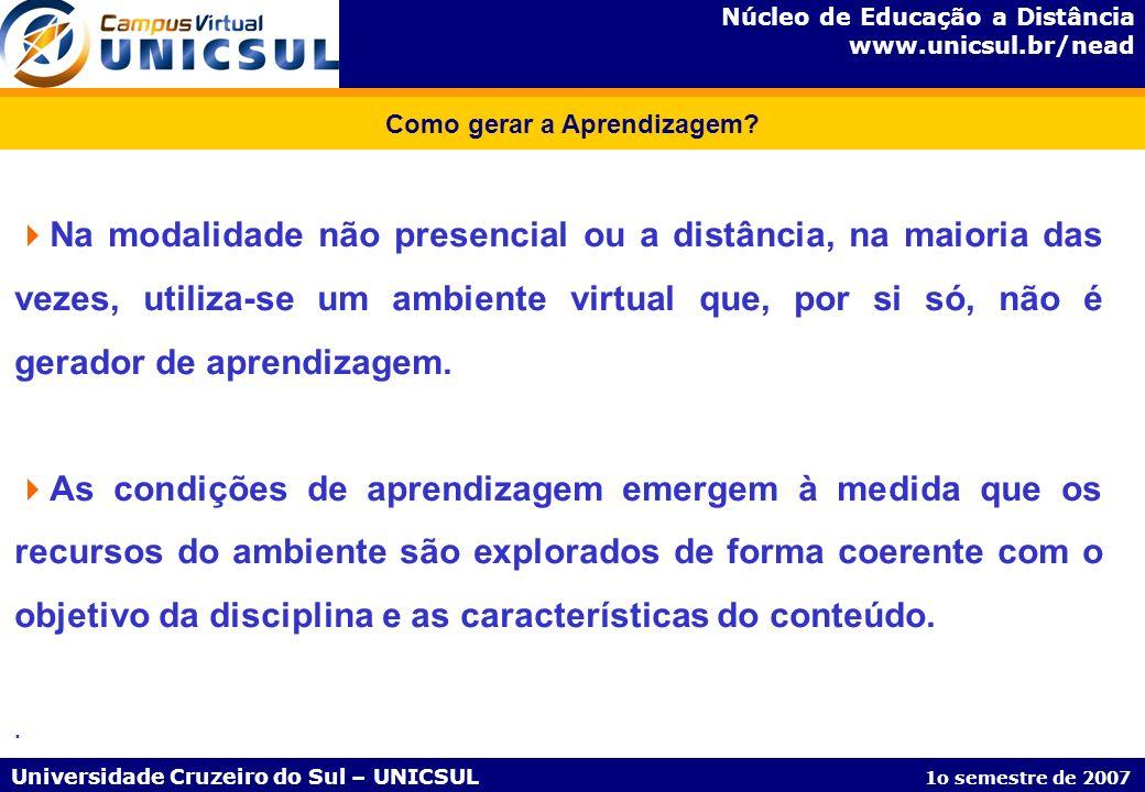 Núcleo de Educação a Distância www.unicsul.br/nead Universidade Cruzeiro do Sul – UNICSUL 1o semestre de 2007 Como gerar a Aprendizagem? Na modalidade