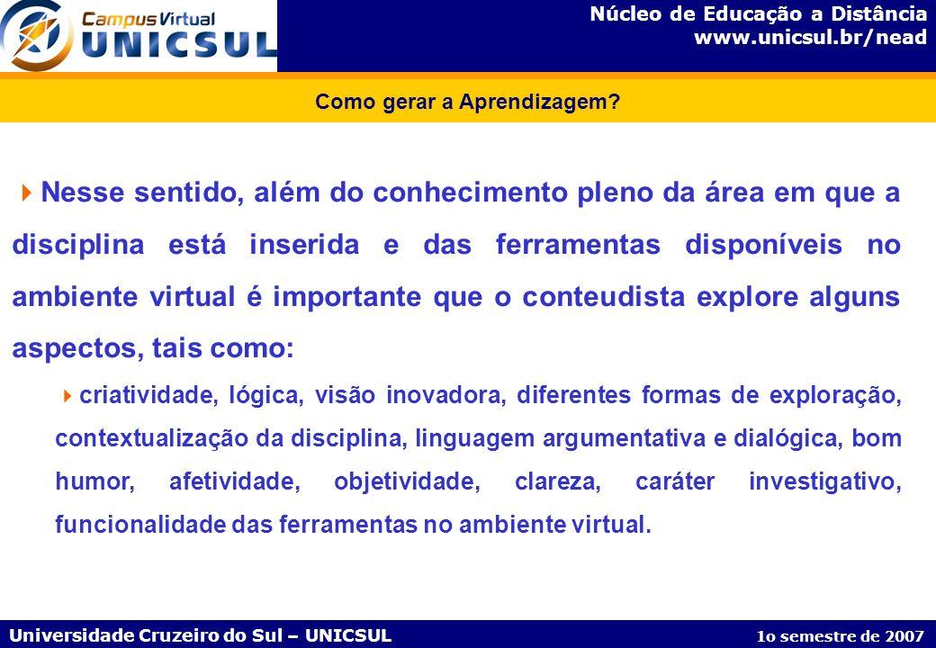Núcleo de Educação a Distância www.unicsul.br/nead Universidade Cruzeiro do Sul – UNICSUL 1o semestre de 2007 Como gerar a Aprendizagem? Nesse sentido