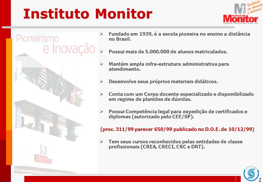2 Instituto Monitor Fundado em 1939, é a escola pioneira no ensino a distância no Brasil. Possui mais de 5.000.000 de alunos matriculados. Mantém ampl