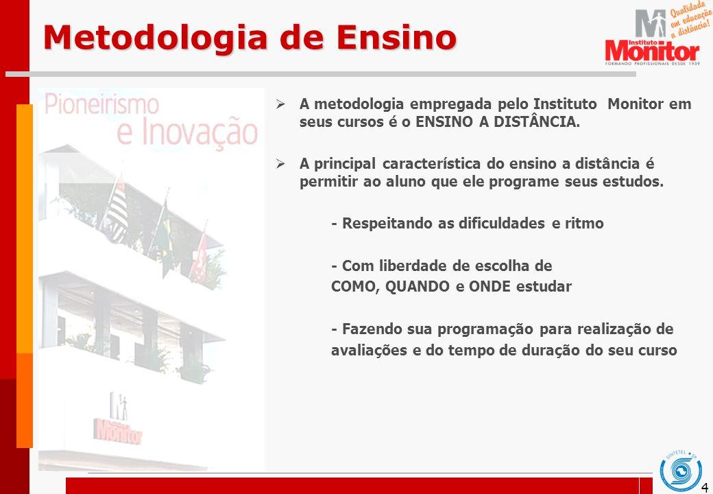 4 Metodologia de Ensino A metodologia empregada pelo Instituto Monitor em seus cursos é o ENSINO A DISTÂNCIA. A principal característica do ensino a d