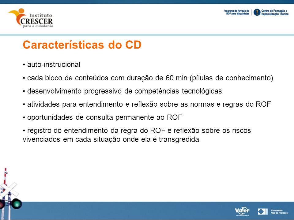 Características do CD auto-instrucional cada bloco de conteúdos com duração de 60 min (pílulas de conhecimento) desenvolvimento progressivo de competê