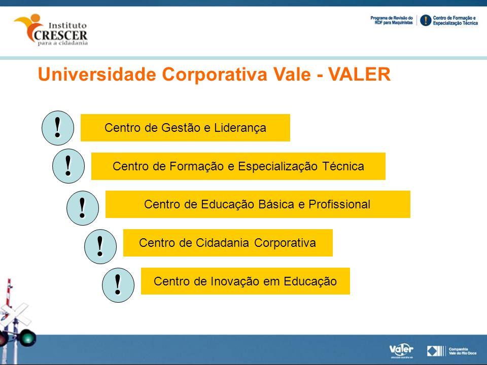 Universidade Corporativa Vale - VALER ! Centro de Gestão e Liderança ! Centro de Formação e Especialização Técnica ! Centro de Educação Básica e Profi
