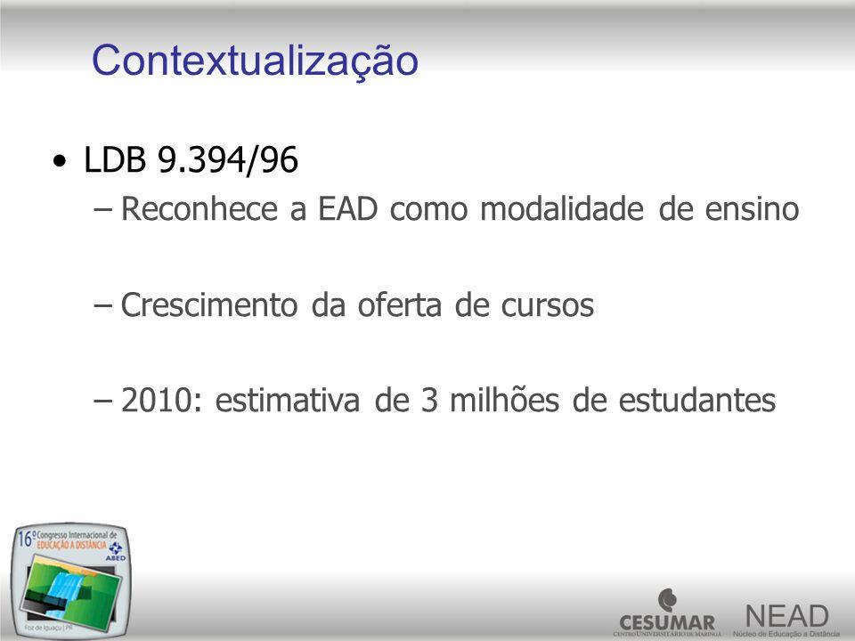 LDB 9.394/96 –Reconhece a EAD como modalidade de ensino –Crescimento da oferta de cursos –2010: estimativa de 3 milhões de estudantes Contextualização