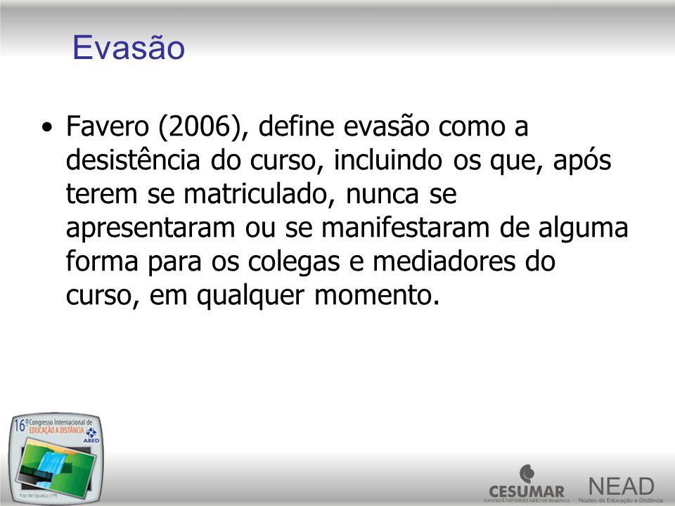 Favero (2006), define evasão como a desistência do curso, incluindo os que, após terem se matriculado, nunca se apresentaram ou se manifestaram de alg
