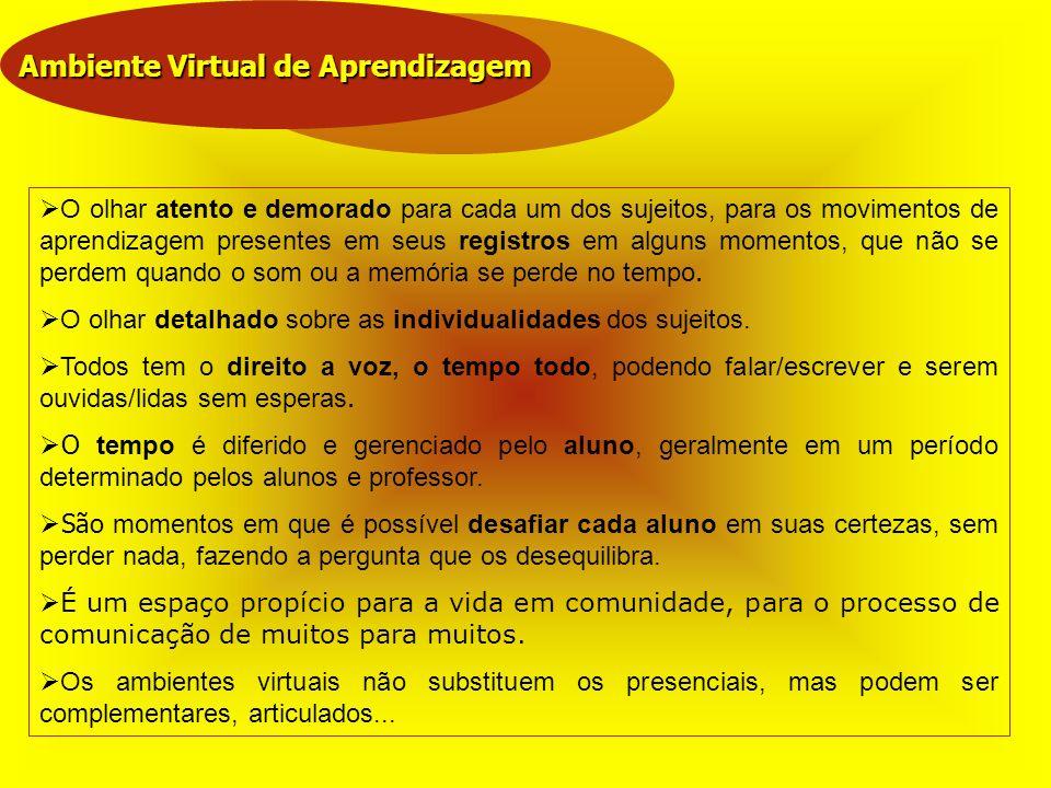 Ambiente Virtual de Aprendizagem O olhar atento e demorado para cada um dos sujeitos, para os movimentos de aprendizagem presentes em seus registros e