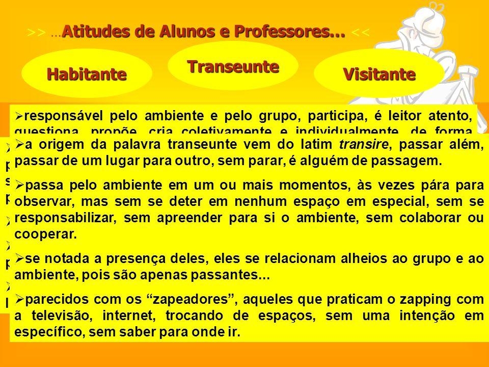 Atitudes de Alunos e Professores… >> … Atitudes de Alunos e Professores… << Habitante Transeunte Visitante responsável pelo ambiente e pelo grupo, par