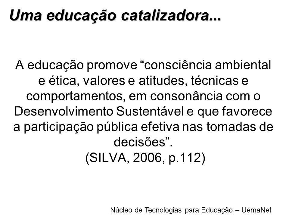 Núcleo de Tecnologias para Educação – UemaNet A educação promove consciência ambiental e ética, valores e atitudes, técnicas e comportamentos, em cons