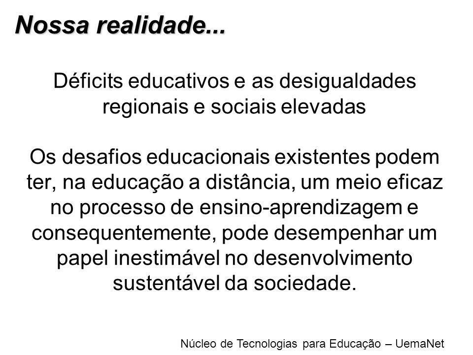 Núcleo de Tecnologias para Educação – UemaNet Déficits educativos e as desigualdades regionais e sociais elevadas Os desafios educacionais existentes