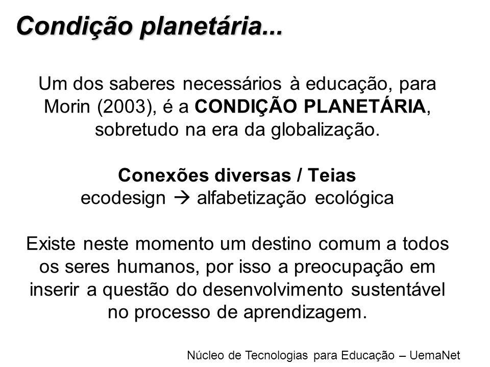 Núcleo de Tecnologias para Educação – UemaNet Um dos saberes necessários à educação, para Morin (2003), é a CONDIÇÃO PLANETÁRIA, sobretudo na era da g