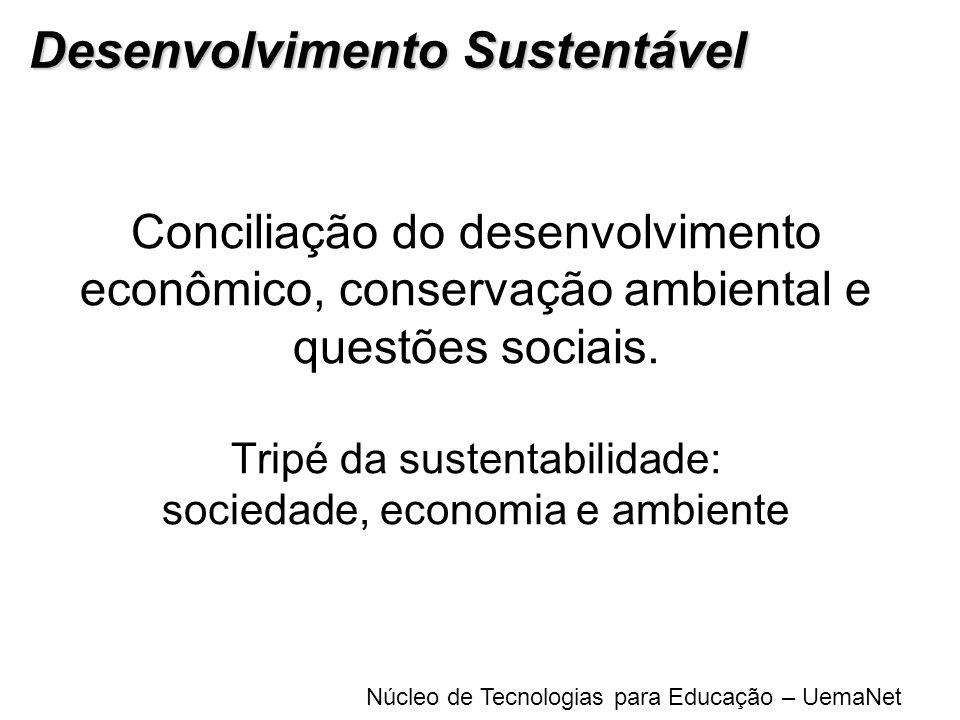 Núcleo de Tecnologias para Educação – UemaNet Conciliação do desenvolvimento econômico, conservação ambiental e questões sociais. Tripé da sustentabil