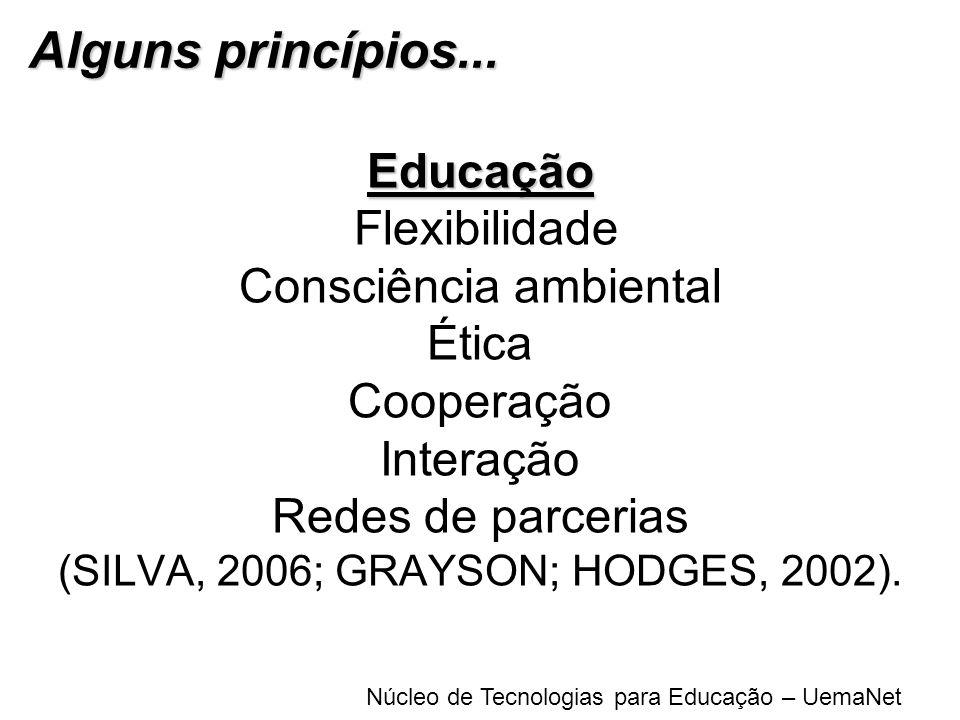 Núcleo de Tecnologias para Educação – UemaNet Educação Educação Flexibilidade Consciência ambiental Ética Cooperação Interação Redes de parcerias (SIL