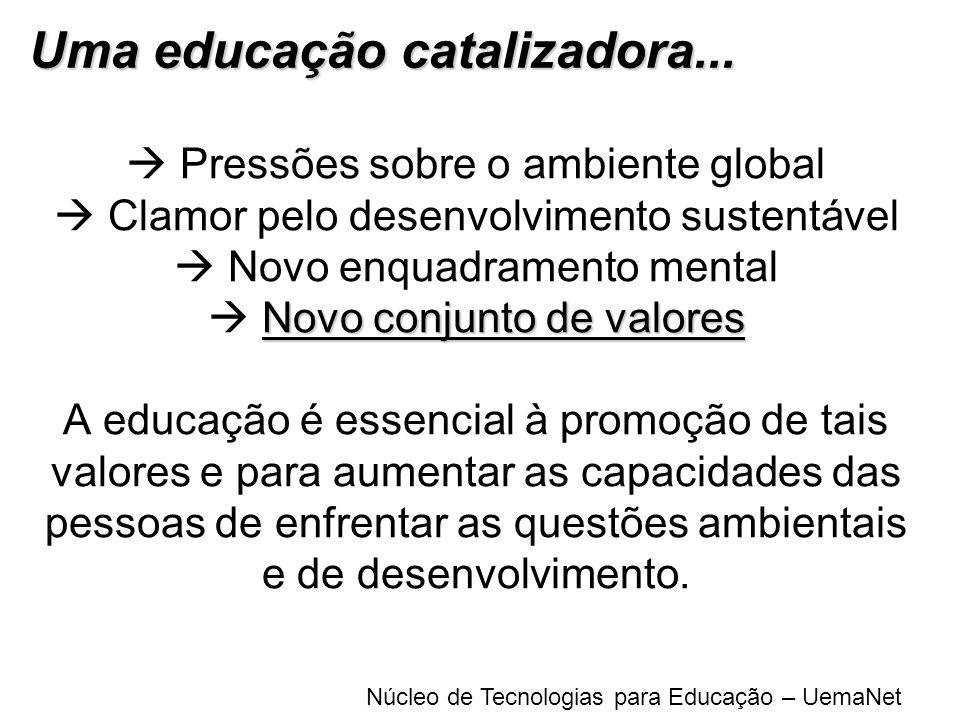 Núcleo de Tecnologias para Educação – UemaNet Novo conjunto de valores Pressões sobre o ambiente global Clamor pelo desenvolvimento sustentável Novo e