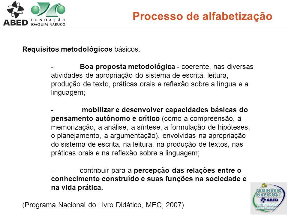 Processo de alfabetização Requisitos metodológicos básicos: -Boa proposta metodológica - coerente, nas diversas atividades de apropriação do sistema d