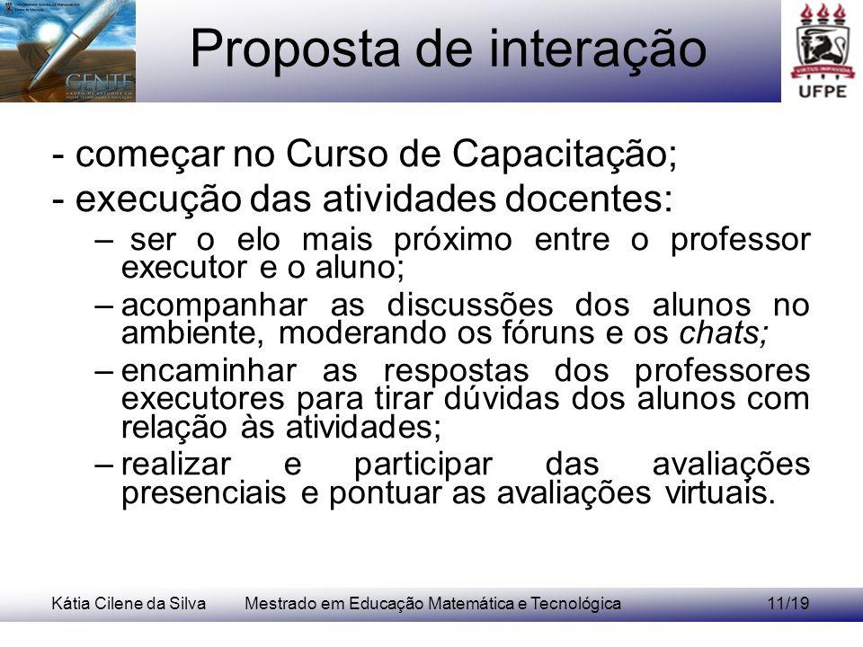 Kátia Cilene da SilvaMestrado em Educação Matemática e Tecnológica11/19 Proposta de interação - começar no Curso de Capacitação; - execução das ativid