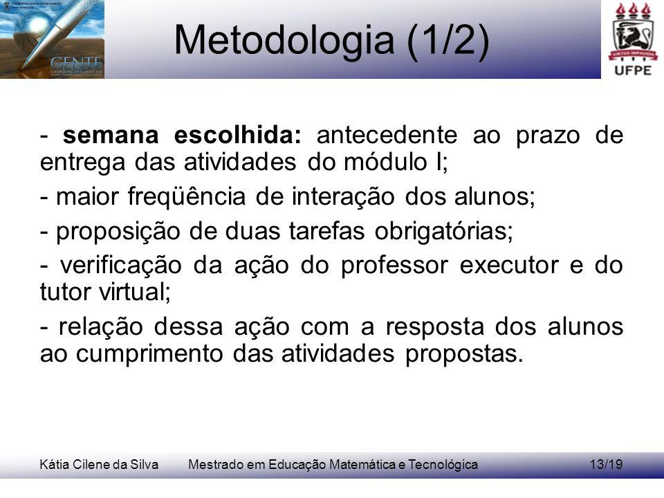 Kátia Cilene da SilvaMestrado em Educação Matemática e Tecnológica13/19 Metodologia (1/2) - semana escolhida: antecedente ao prazo de entrega das ativ