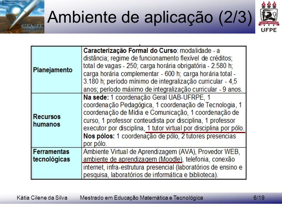 Kátia Cilene da SilvaMestrado em Educação Matemática e Tecnológica7/19 Ambiente de aplicação (3/3)