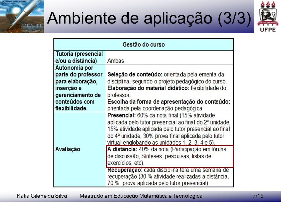 Kátia Cilene da SilvaMestrado em Educação Matemática e Tecnológica8/19 Perfil docente para EAD -Funções no curso; -Formação exigida; -Estratégias docentes.