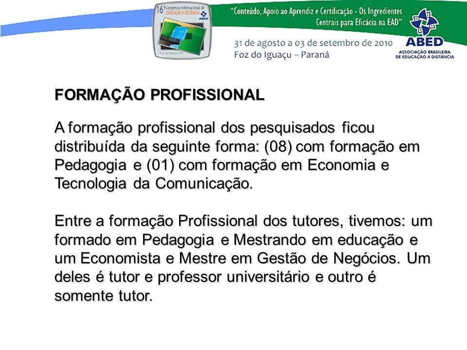FORMAÇÃO PROFISSIONAL A formação profissional dos pesquisados ficou distribuída da seguinte forma: (08) com formação em Pedagogia e (01) com formação