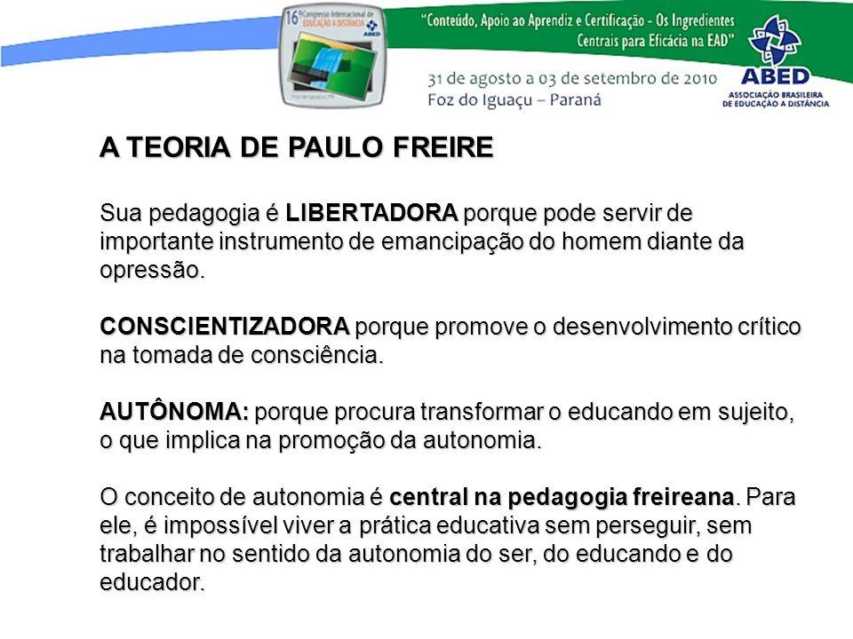 A TEORIA DE PAULO FREIRE Sua pedagogia é LIBERTADORA porque pode servir de importante instrumento de emancipação do homem diante da opressão. CONSCIEN