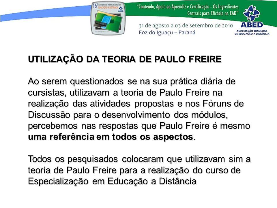 UTILIZAÇÃO DA TEORIA DE PAULO FREIRE Ao serem questionados se na sua prática diária de cursistas, utilizavam a teoria de Paulo Freire na realização da