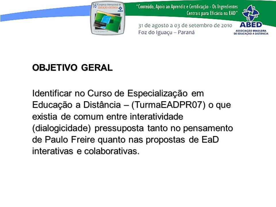 OBJETIVO GERAL Identificar no Curso de Especialização em Educação a Distância – (TurmaEADPR07) o que existia de comum entre interatividade (dialogicid