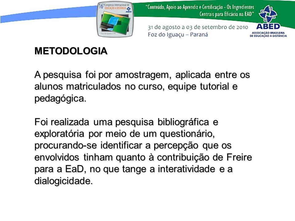 METODOLOGIA A pesquisa foi por amostragem, aplicada entre os alunos matriculados no curso, equipe tutorial e pedagógica. Foi realizada uma pesquisa bi