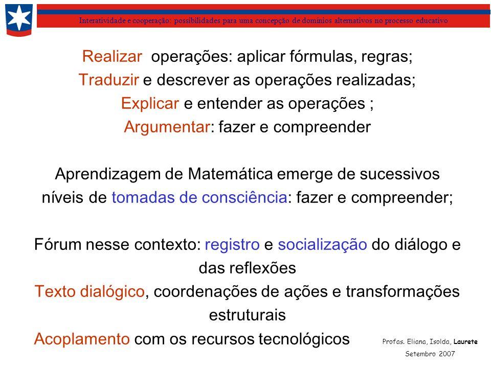Interatividade e cooperação: possibilidades para uma concepção de domínios alternativos no processo educativo Profas. Eliana, Isolda, Laurete Setembro