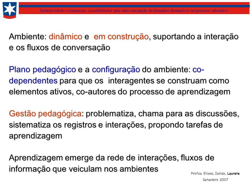 Interatividade e cooperação: possibilidades para uma concepção de domínios alternativos no processo educativo Ambiente: dinâmico e em construção, suportando a interação e os fluxos de conversação Plano pedagógico e a configuração do ambiente: co- dependentes para que os interagentes se construam como elementos ativos, co-autores do processo de aprendizagem Gestão pedagógica: problematiza, chama para as discussões, sistematiza os registros e interações, propondo tarefas de aprendizagem Aprendizagem emerge da rede de interações, fluxos de informação que veiculam nos ambientes Profas.