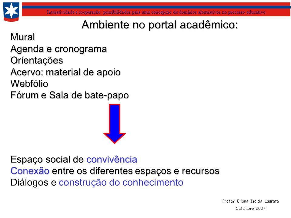 Interatividade e cooperação: possibilidades para uma concepção de domínios alternativos no processo educativo Ambiente no portal acadêmico: Mural Agen