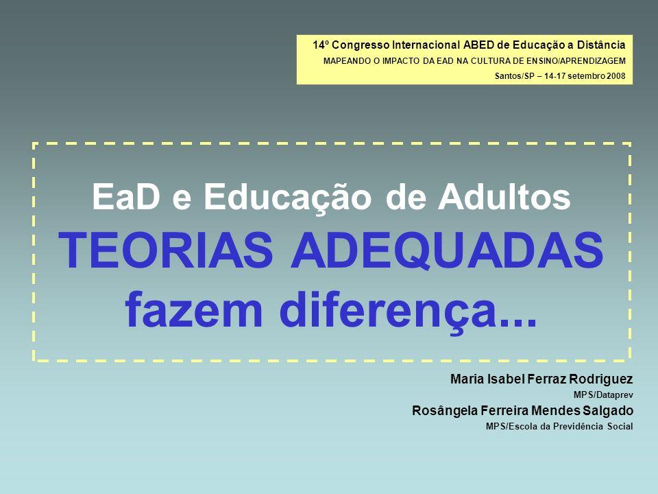 EaD e Educação de Adultos TEORIAS ADEQUADAS fazem diferença... Maria Isabel Ferraz Rodriguez MPS/Dataprev Rosângela Ferreira Mendes Salgado MPS/Escola
