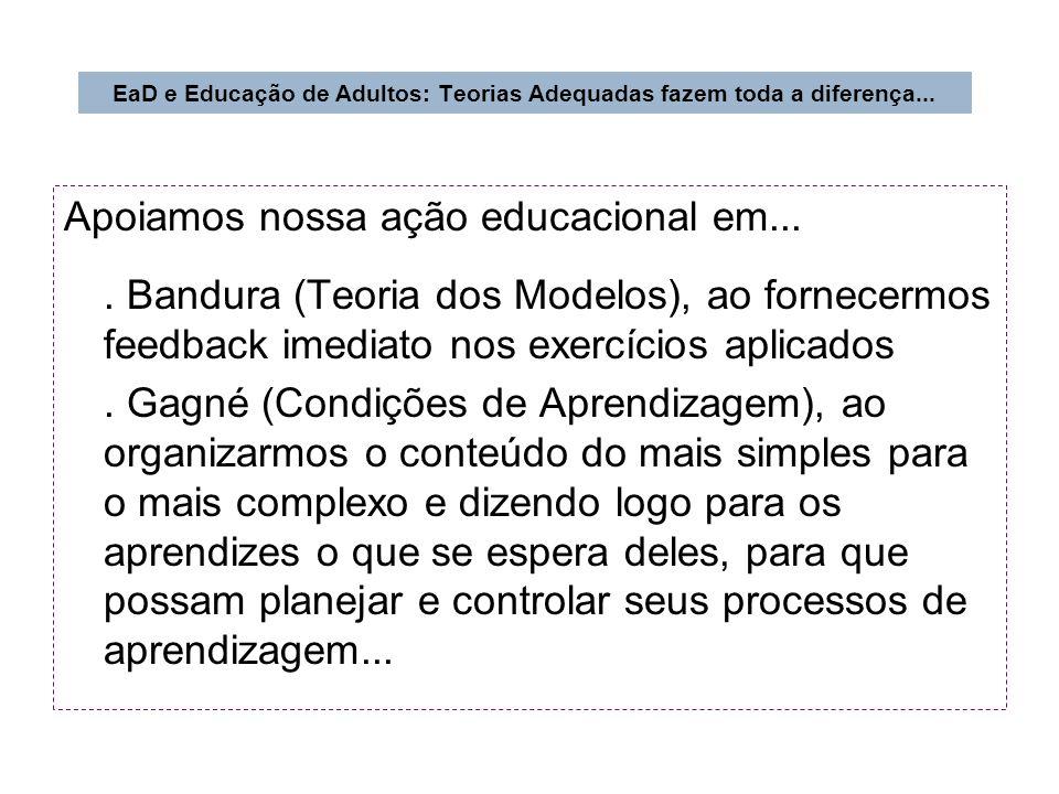 Apoiamos nossa ação educacional em.... Bandura (Teoria dos Modelos), ao fornecermos feedback imediato nos exercícios aplicados. Gagné (Condições de Ap