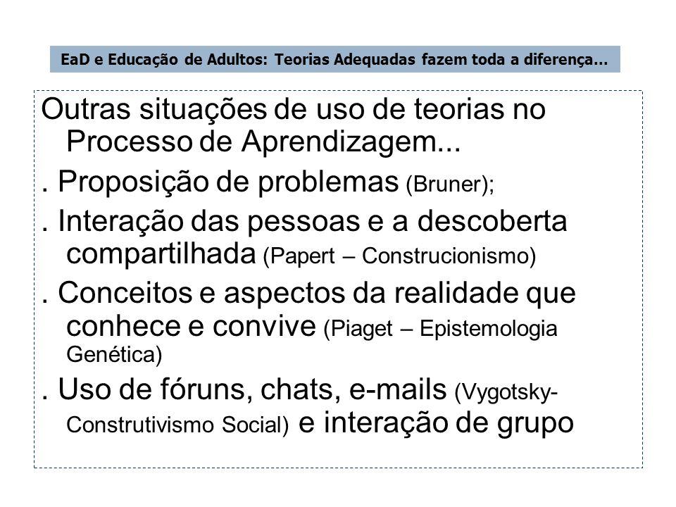 Outras situações de uso de teorias no Processo de Aprendizagem.... Proposição de problemas (Bruner);. Interação das pessoas e a descoberta compartilha