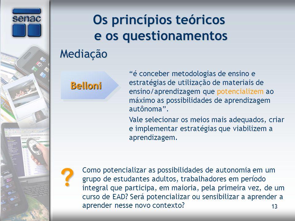 13 Os princípios teóricos e os questionamentos Mediação é conceber metodologias de ensino e estratégias de utilização de materiais de ensino/aprendiza