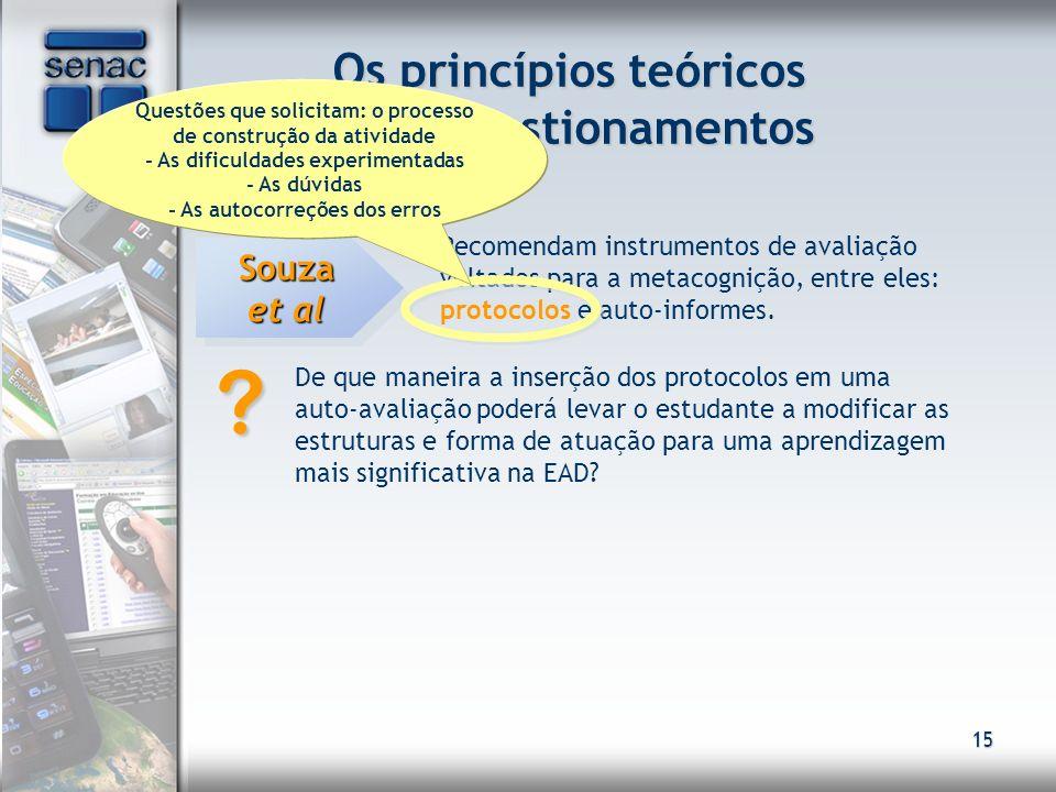 15 Os princípios teóricos e os questionamentos Avaliação Souza et al Recomendam instrumentos de avaliação voltados para a metacognição, entre eles: pr