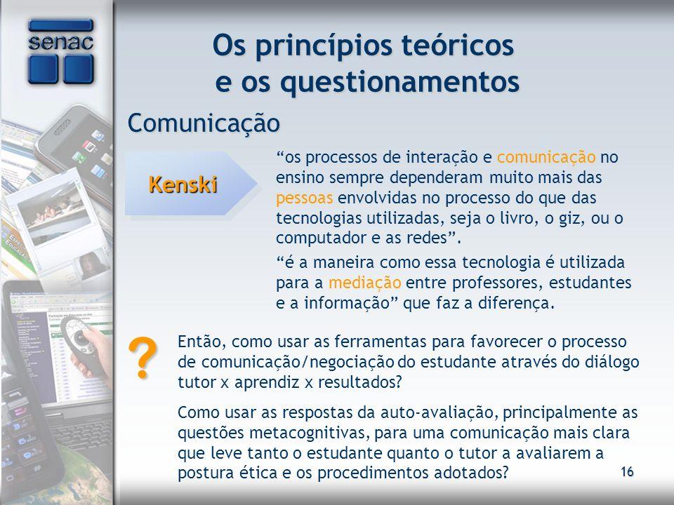 16 Os princípios teóricos e os questionamentos Comunicação KenskiKenski os processos de interação e comunicação no ensino sempre dependeram muito mais